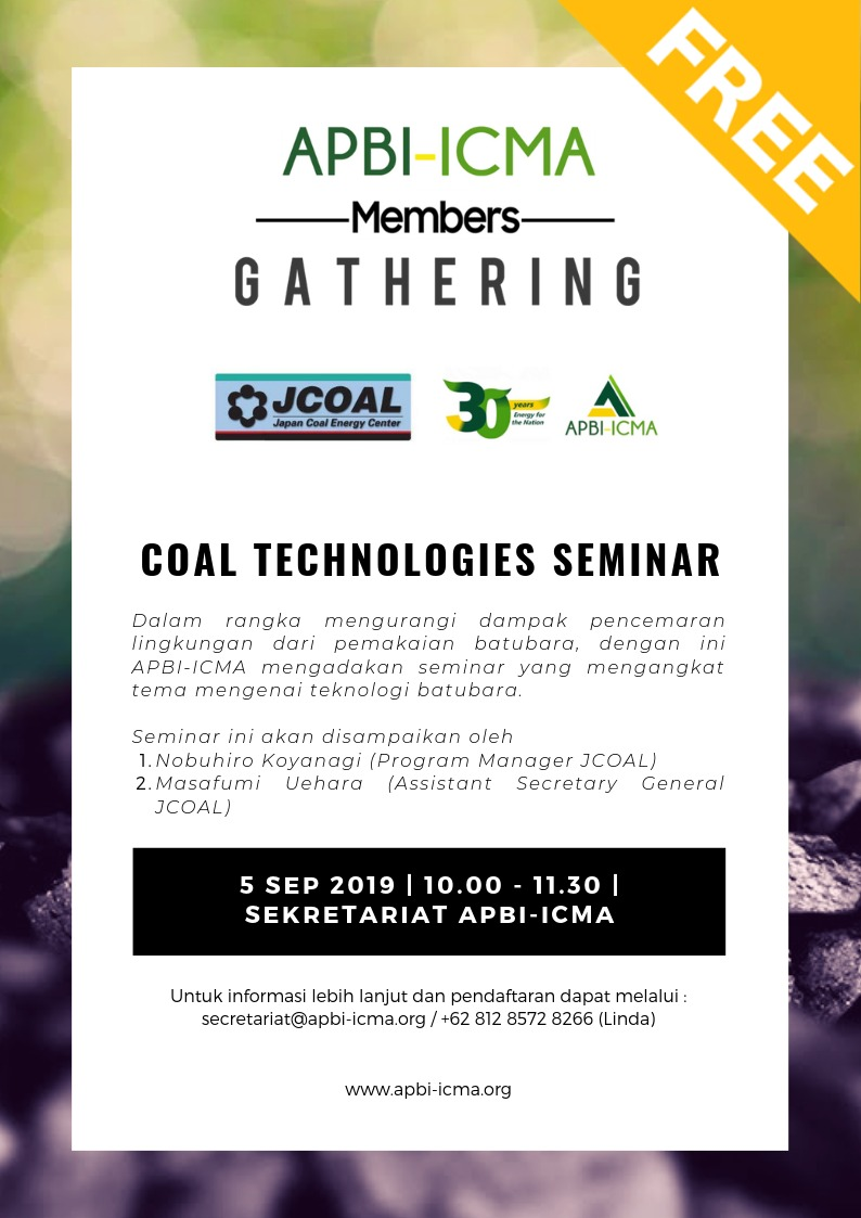 APBI-ICMA  Members  Gathering - JCOAL, COAL TECHNOLOGIES SEMINAR