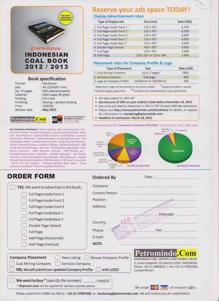 Advertisement and Order Indonesian Coal Book 2012 / 2013
