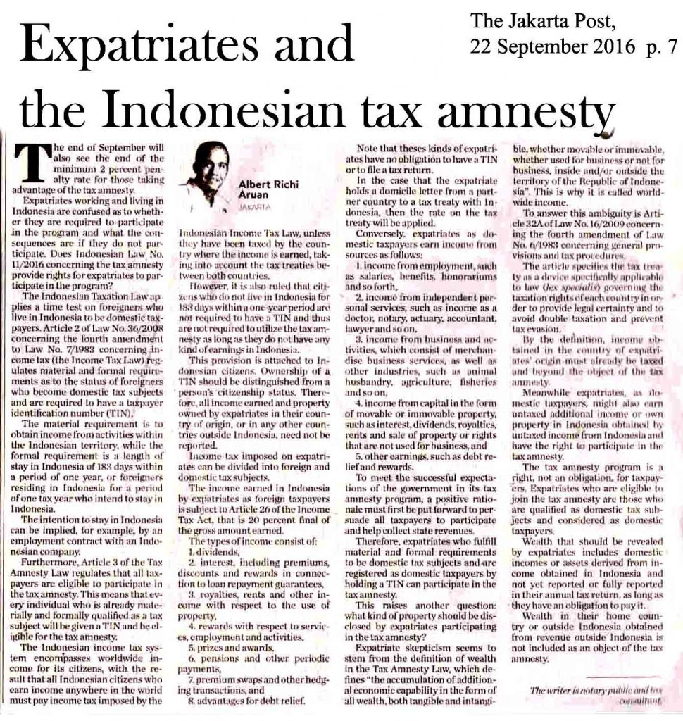 Expatriates and the Indonesian tax amnesty