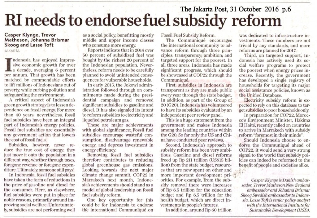 RI needs to endorse fuel subsidy reform
