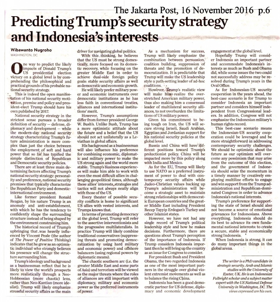 Predicting Trump's security strategy  and Indonesia's interest