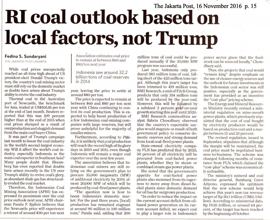 RI coals outlook based on local factors, not Trump