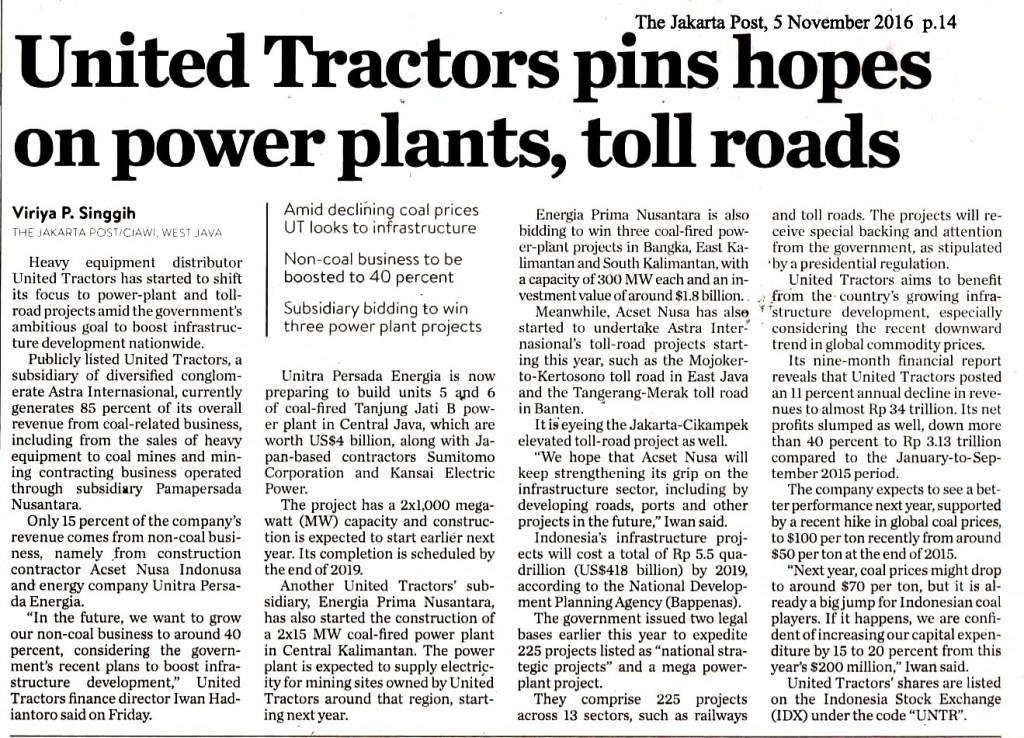 United Tractors pins hpes on power plants, toll roads