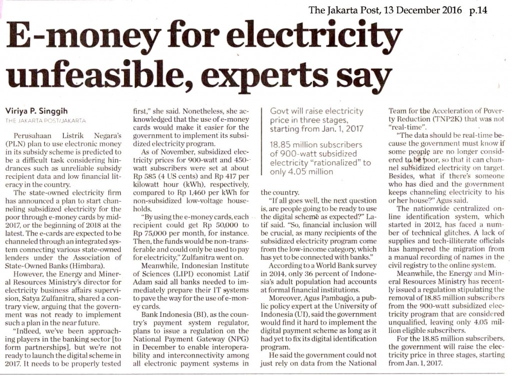 E-money for electricity unfeasible, experts say