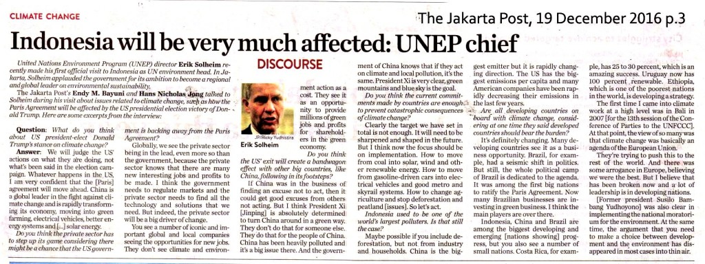 Indonesia will be very much affected__UNEP chief