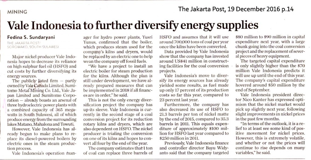 Vale Indonesia to further diversify energy supplies