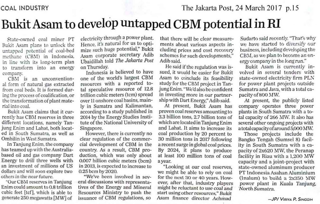 Bukit Asam to develop untapped CBM potential in RI