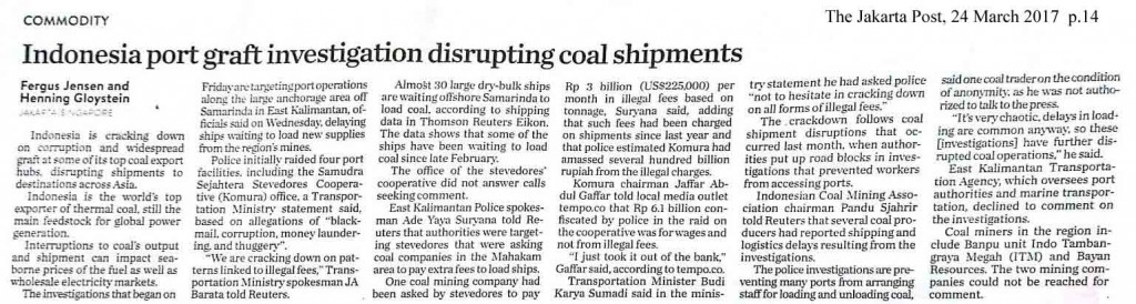 Indonesia port graft investigation disrupting coal shipments