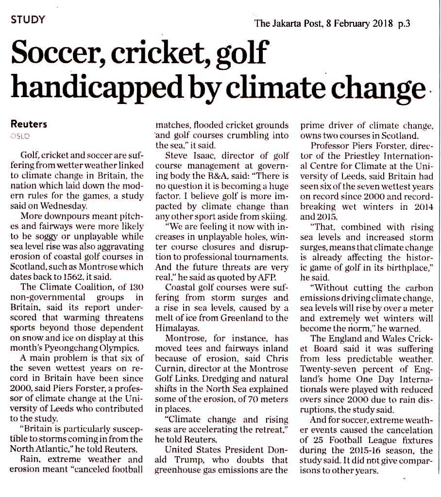 Soccer, cricketr, golf handicapped by climate change